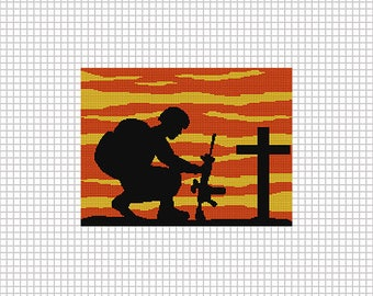 INSTANT DOWNLOAD cross stitch Chella Crochet Soldier Praying at Cross at SUNSET Silhouette Afghan Crochet Pattern