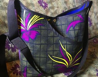 Floral Print African Wax Cloth Market Bag, African Textile Cross Body Shoulder Bag, Cotton Tote Bag