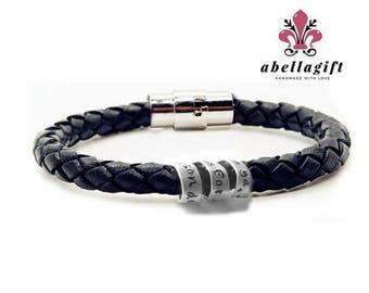 Personalized Secret Message Spiral Bracelet, Hidden Message Hand stamped Braided Leather Bracelet