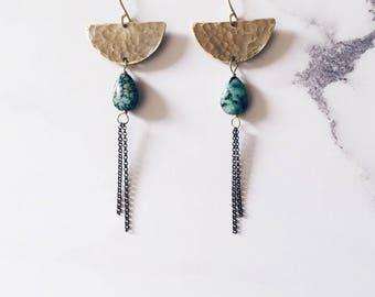 Half moon earrings, gold brass & african turquoise gemstones, green earrings, tribal aztec earrings