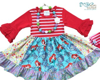 Disney princess Ariel Little Mermaid Christmas dress Princess dress Momi boutique custom dress