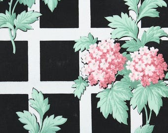 1940s Vintage Wallpaper by the Yard - Pink Hydrangea White Lattice on Black, Floral Wallpaper