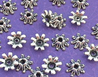 NEW! 20 Flower Bead Caps Silver Tone Plated 8mm Bali Style Floral Petals for DIY Jewelry TS261B
