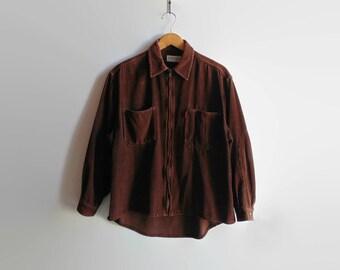 Brown Corduroy Shirt Jacket, Women 90s Clothes, Vintage Clothing, Size 8 USA, Long Sleeve Shirt, Fall Casual Jacket, Chunky Corduroy, Zipper
