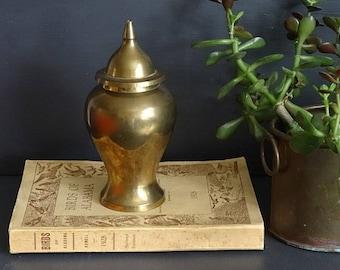 Brass Ginger Jar/Urn/Vase with Lid 7 Inch