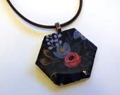 SECONDS Hexie pendant, Les Fleurs Rifle Paper Company by Cotton & Steel, hexagon pendant, hexagon necklace, fabric jewelry, fabric pendant