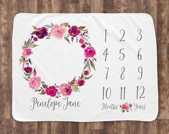 Baby Month Milestone Blanket- Pink Watercolor Wreath - Girl - Personalized Baby Blanket - Track Growth and Age - New Mom Baby Shower Gift
