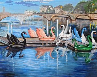 Swan Boats, Asbury Park, NJ -  Print