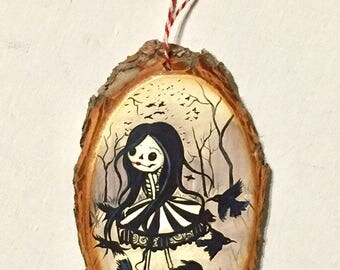 Raven carrousel girl Ornament Wooden Handmade Tree Decoration Forest Decoration