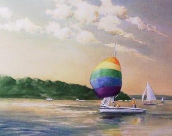 Original Watercolor Painting - Sailing, Lake - Includes Double Mat
