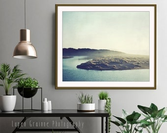 "California landscape - rustic ocean print - olive green wall art - blue gray - river wall art print - living room decor ""River and Sea"""
