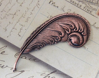NEW Copper Curled Feather Finding 3026C