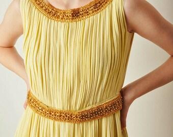 ON SALE Vintage Yellow Accordion Pleat Dress