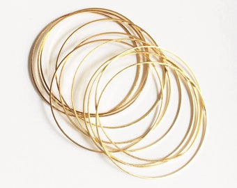 20 pcs of Gold plated brass round connector ring 25mm