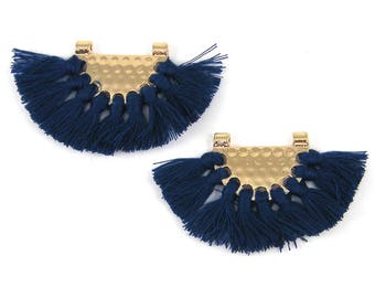 Blue Tassel Earrings Findings Boho Navy Blue Fringe Gold Half Circle Fan Pendant Bohemian Jewelry Supply Chandelier Components |B6-16|2