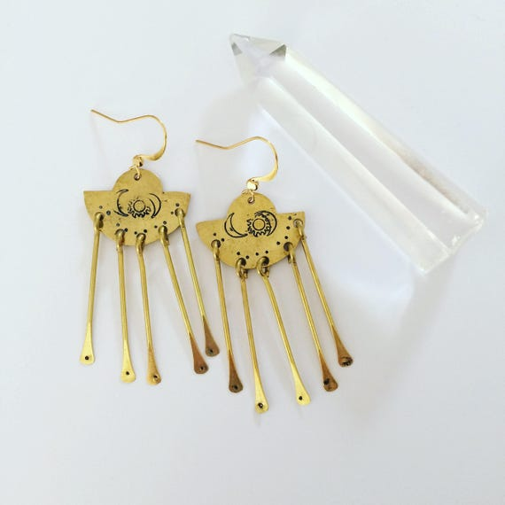 Sun Goddess Chandelier Earrings - Brass - Gold - Dangle - Crescent Moon - Mysticism - Worship - Feminine - Saule - Festival - Gypsy
