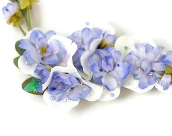 Adjustable Blue Flower Tiara Crown