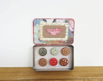 Rustic Clay Fridge Magnet Set of 6, Ceramic Magnet Set, Stocking Stuffer, Housewarming Gift