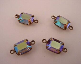 4 vintage Swarovski Starlight blue AB aurora borealis octagon 10x8 brass ox setting 2 ring connector