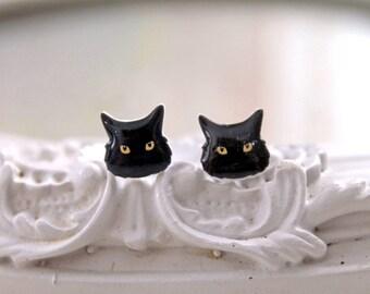 Fluffy black Kitty cats  Earrings cute kawaii