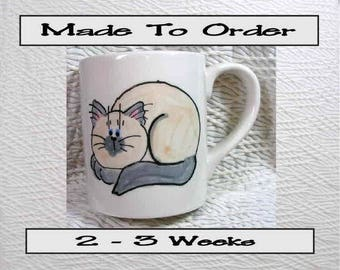 Lilac Point Himalayan or Siamese Laying Cat 12 Oz. Ceramic Mug Earthenware Handmade To Order GMS