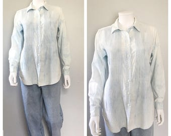 Bleached out tuxedo button up / chambray button up shirt oversized blouse