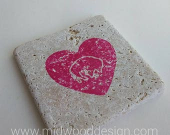 Big heart Buffalo stone tile travertine coasters set of 4