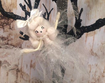 Halloween ornament Ghost girl vintage retro inspired ghost art doll off white ghastly ghost party decor