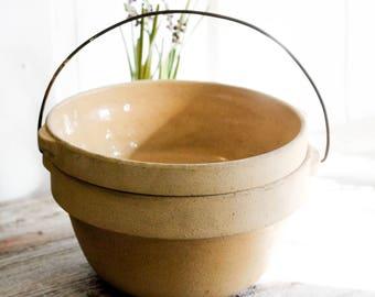 1900's Antique Star Pottery Bowls, Meat Roaster, Cooking Crock, Wire Bail Handle, glazed stoneware, Rustic, Primitive, Farmhouse Decor,