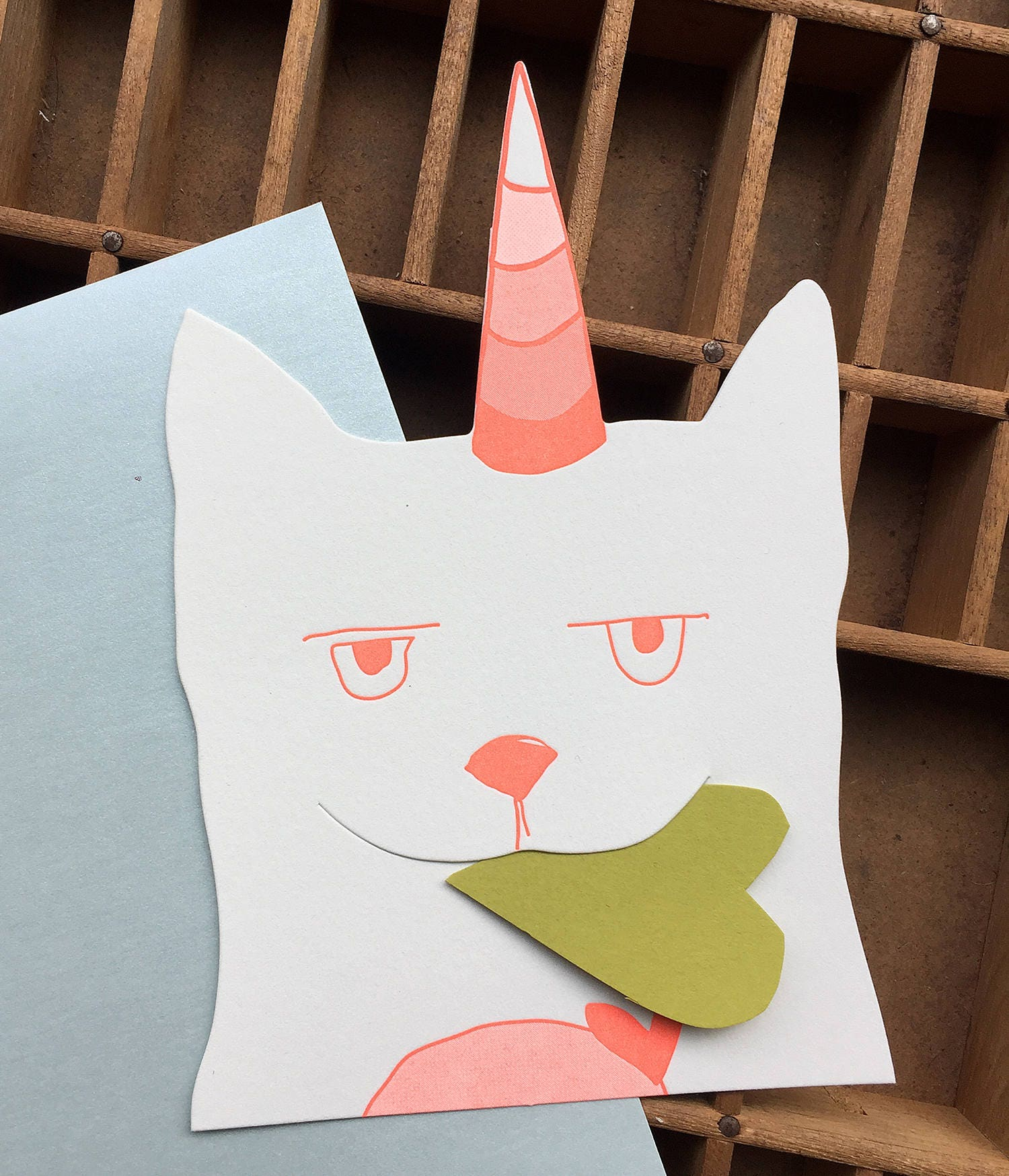 Letterpress love caticorn letterpress diecut gift card by blackbird letterpress buy colourmoves