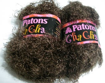 2 Skeins Patons Cha Cha Eyelash Yarn Soul Brown