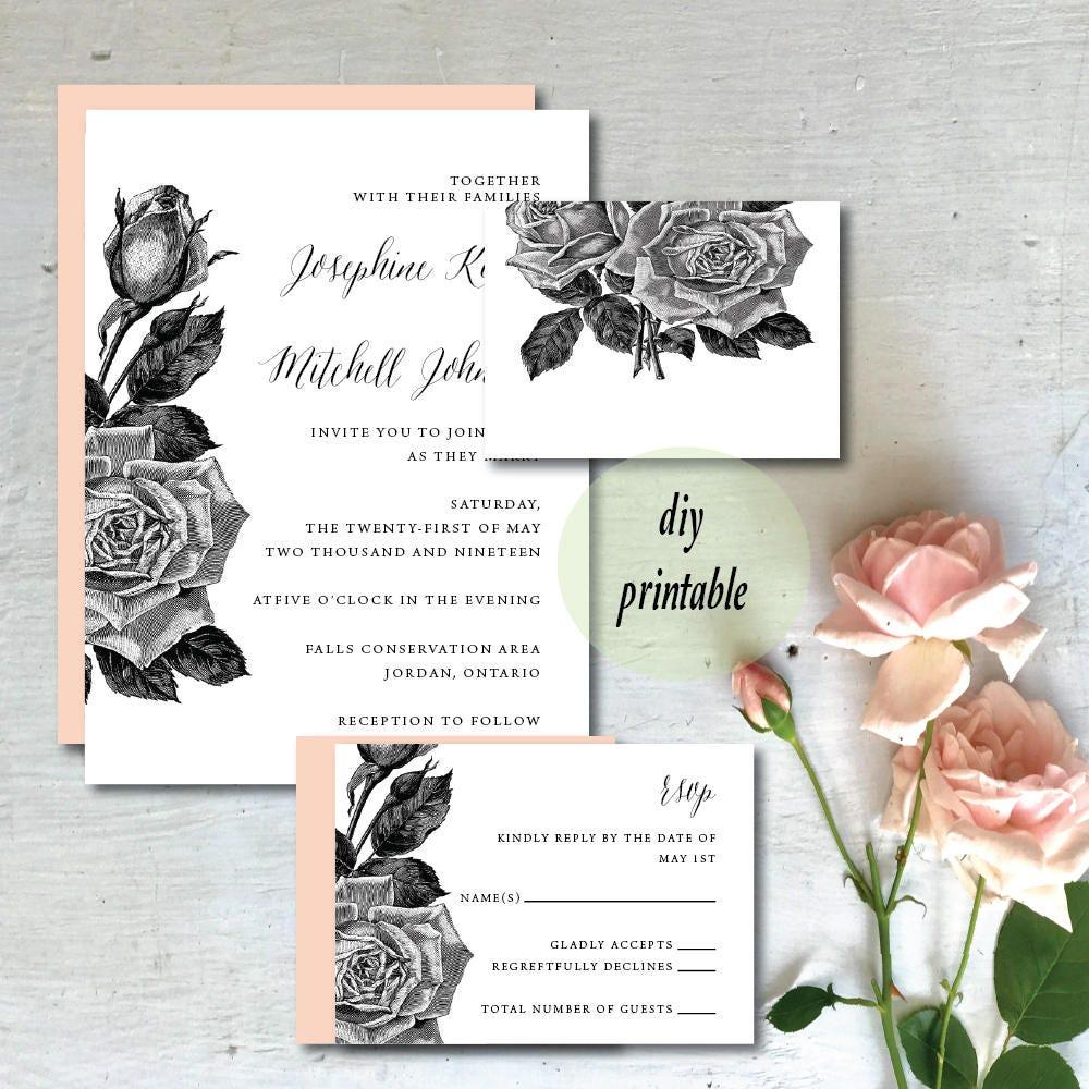 Black and White Vintage Floral Wedding Invitation | Vintage ...