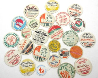 Assorted Vintage Milk Bottle Caps Set of 25 Lot A