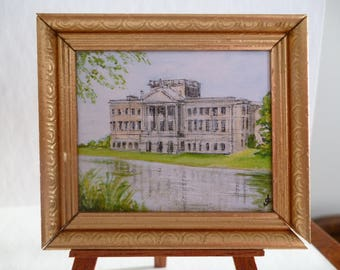Miniature PRINT of my Original Painting  of Lyme Park (Pemberly in Pride and Prejudice).One 12th scale
