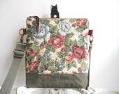Tapestry floral, waxed military canvas crossbody, iPad flat bag - eco vintage fabrics
