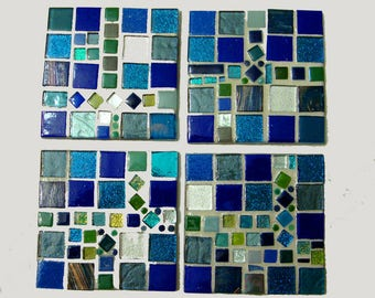 Handmade Tile Coasters Blues Greens and Silver