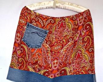 Free Shipping Upcycled Skirt, Paisley Pink, Orange and Yellow, Bluejean Border on Bottom Size 10 Medium