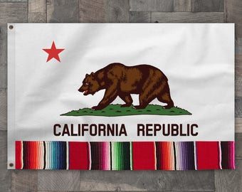 Cotton with Serape Detail, California Republic State Bear Flag, Made in USA, Rainbow