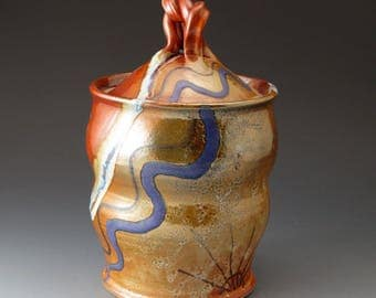 Covered Jar with Desert Colors - Handmade Ceramic Lidded Pot