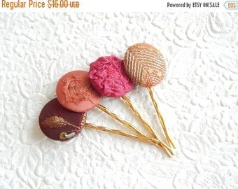 CLEARANCE - Wine burgundy fabric embroidered hair pins, 1 1/8 inch hairpins, hair accessory, womens accessory