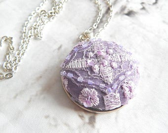 Purple embroidered necklace, floral lace necklace for women, measures 1.5 inch pendant