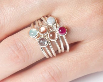 Silver Stone Knife Edge Ring | Sunstone, Peruvian Blue Opal, Australian Opal, Ruby, or Labradorite