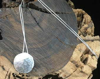 Lunar Eclipse - Moon Necklace on Sterling Silver Box Chain 1/2 inch in diameter
