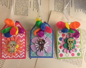 3 skeleton flower gift tags collage Art #1 FREE US Shipping