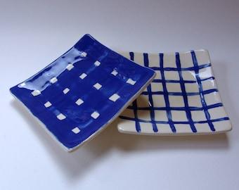 2 blue pottery Serving Plates with plaid stripes, delft blue ceramic set, square side plates