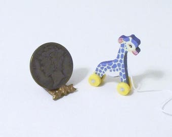 Purple TooTall Giraffe Dollhouse Miniature Pull Toy