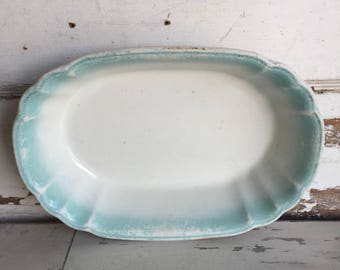 Antique Ironstone Bowl Oval Aqua Wedgewood and Co.