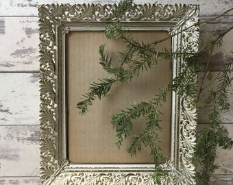 Vintage Metal Filigree Picture Frame 8 x 10 Brass Frosted
