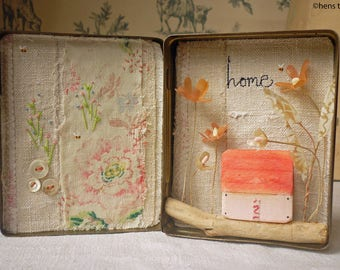 Original artwork - mixed media - flowers in vintage tin with little wooden house - Home