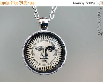 ON SALE - Classic Sun : Glass Dome Necklace, Pendant or Keychain Key Ring. Gift Present metal round art photo jewelry by HomeStudio